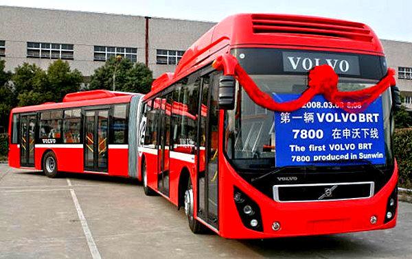 上海集团申沃客车与volvo ab合作现地生产的brt新公车.高清图片